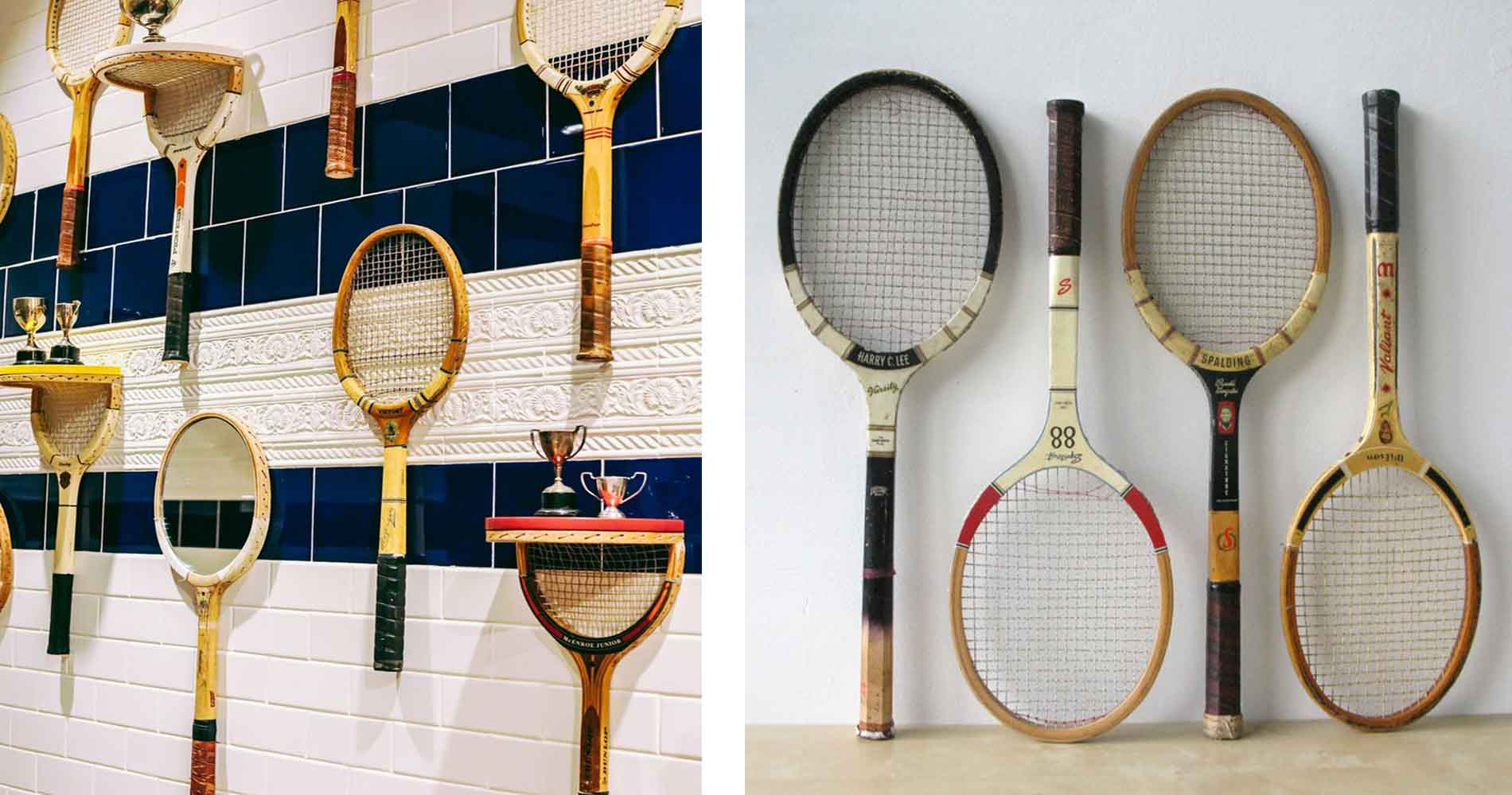 Ted Baker Tennis Raquet Wall And Vintage Props Racquets