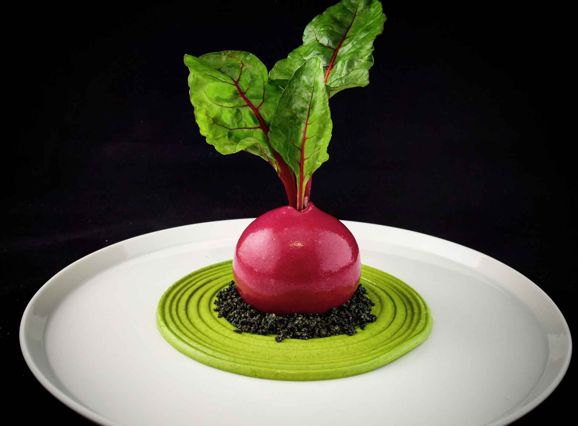 Bubble Food Crab And Smoked Trout Mouse Beetroot Gel Red Chard And Avocado Puree