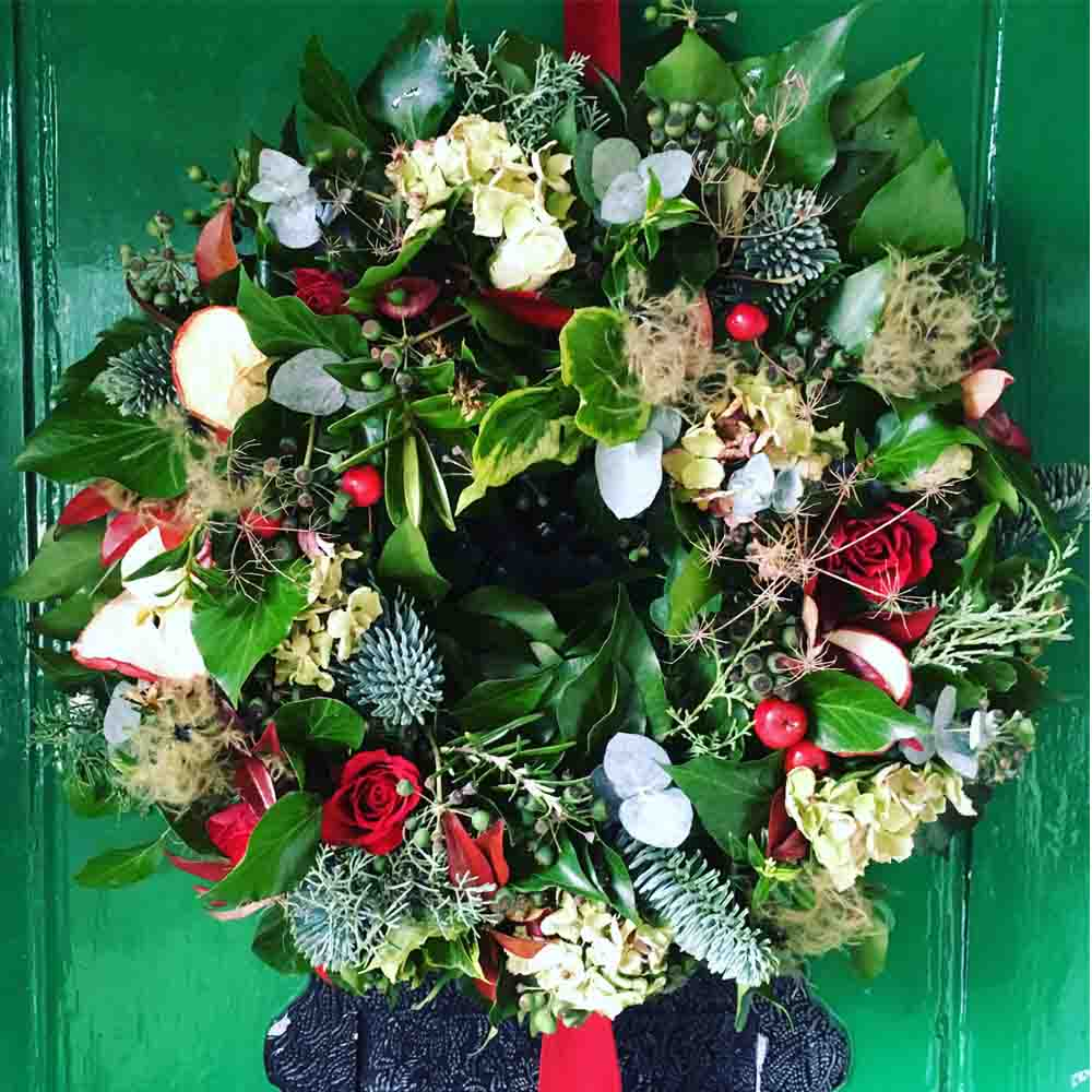 Foxgloves And Roses Christmas Wreath