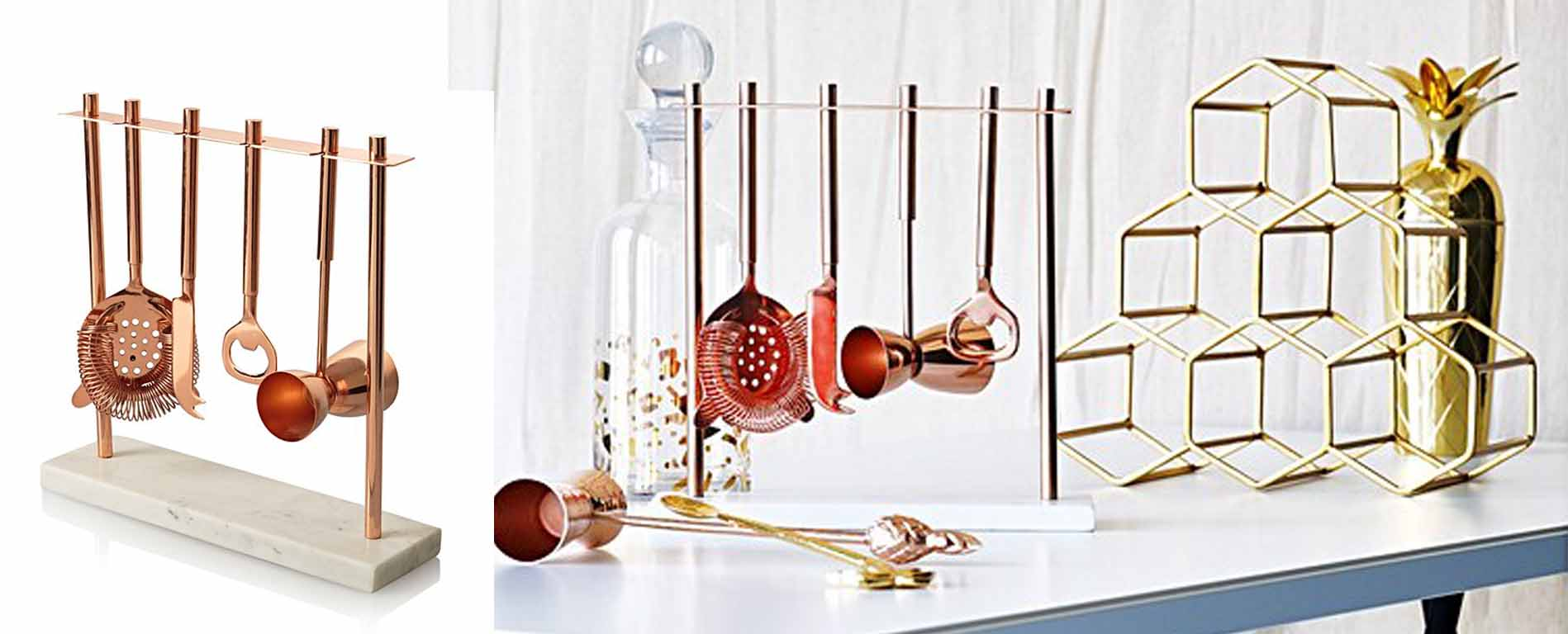 Oliver Bonas Cocktail Marble Copper Bar Set