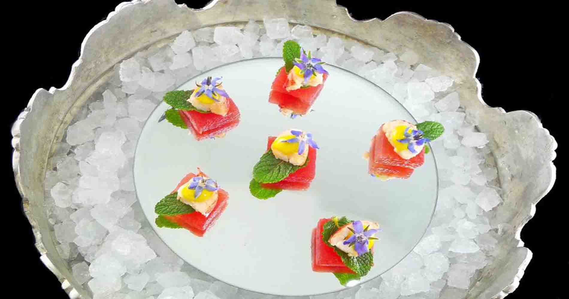Native Lobster Watermelon Mint Borage Flowers Spiced By Bubble Food