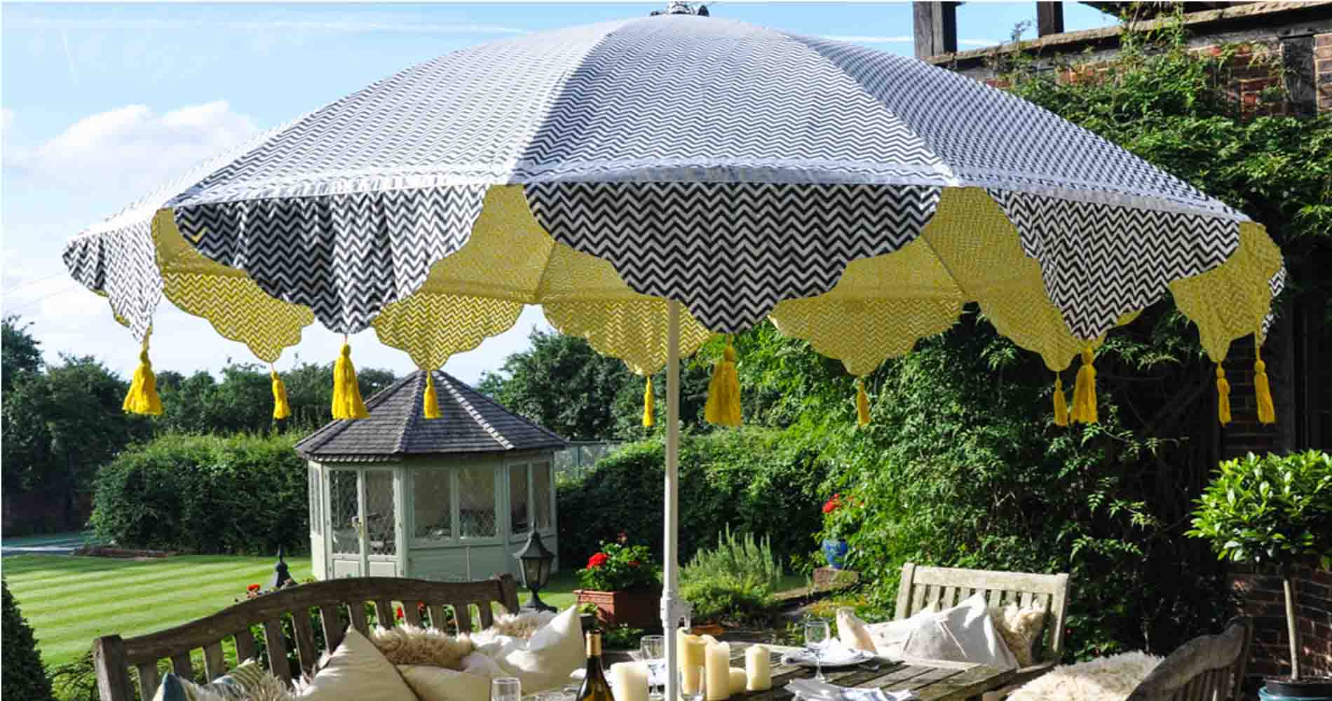 East London Parasol Company Yello And Blue