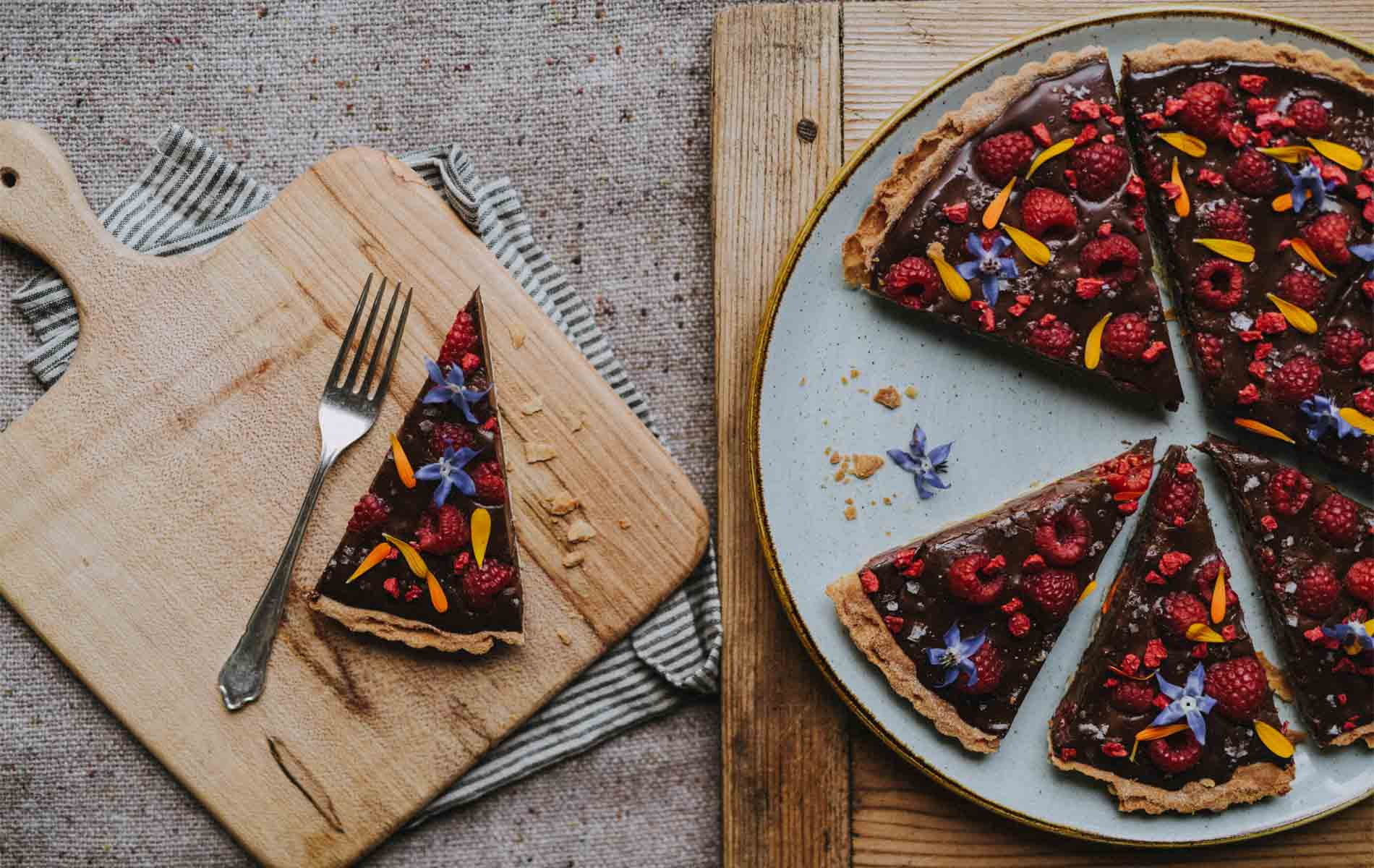 Pickle Shack Floral Chocolate And Rasberry Tart
