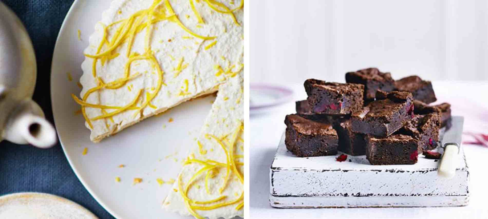 BBC Good Food Vegan Lemon Cheesecake And Chocolate Brownies